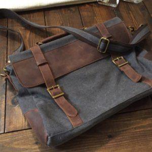 Denim and Leather Laptop Bag / Messenger Bag